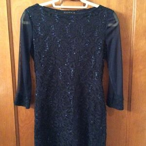 Tiana B. Navy lace long sleeve dress